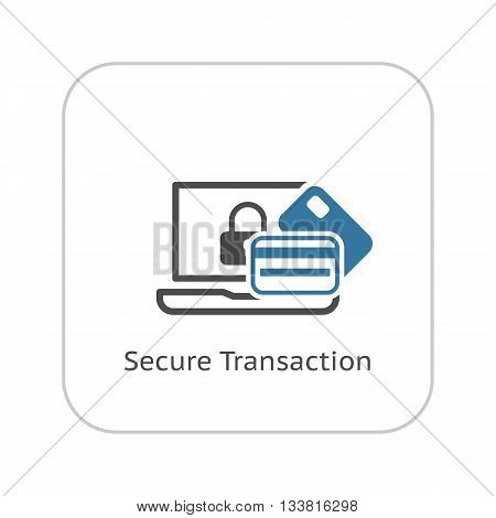Secure Transaction Icon. Flat Design. Business Concept Isolated Illustration.