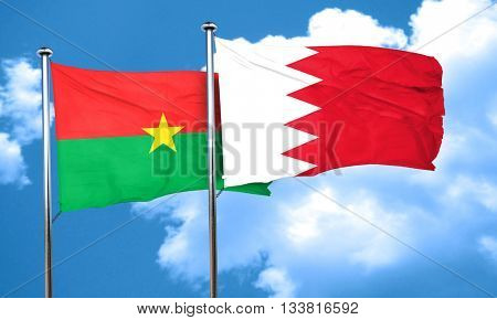 Burkina Faso flag with Bahrain flag, 3D rendering