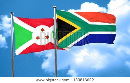 Burundi flag with South Africa flag, 3D rendering