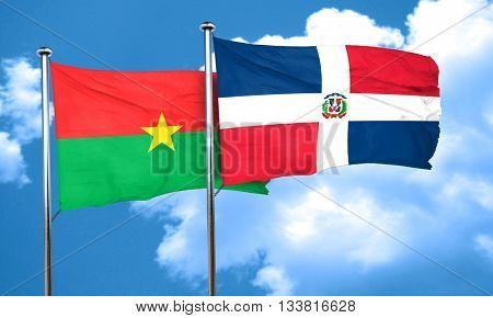 Burkina Faso flag with Dominican Republic flag, 3D rendering