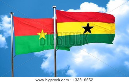 Burkina Faso flag with Ghana flag, 3D rendering
