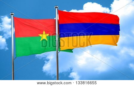 Burkina Faso flag with Armenia flag, 3D rendering