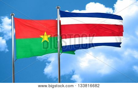 Burkina Faso flag with Costa Rica flag, 3D rendering