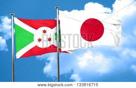 Burundi flag with Japan flag, 3D rendering