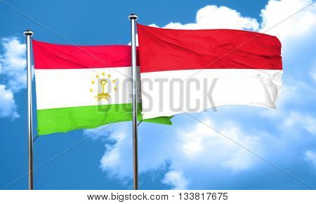 Tajikistan flag with Indonesia flag, 3D rendering