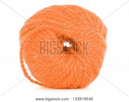 Clew of thread orange texture isolated on white background