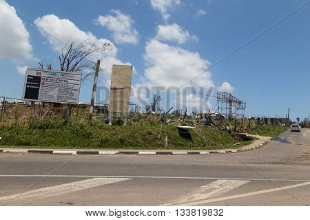 February 25 2016 - destruction caused by tropical cyclone Winston. Currently under construction hospital destroyed . Ba city. Island Viti Levu. Fiji