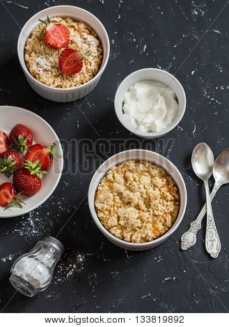 Sweet ricotta casserole with strawberry and cream. Tasty breakfast snack or dessert