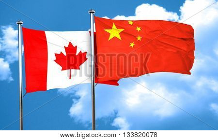 Canada flag with China flag, 3D rendering