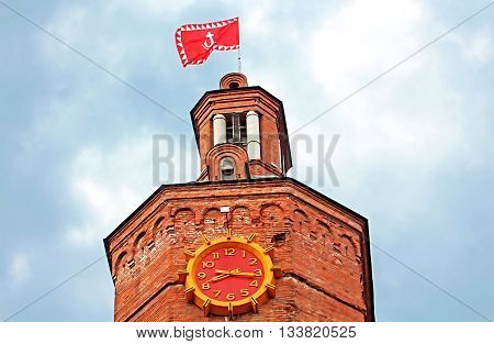 Top view of old fire tower with clock (1911), Vinnytsia, Ukraine