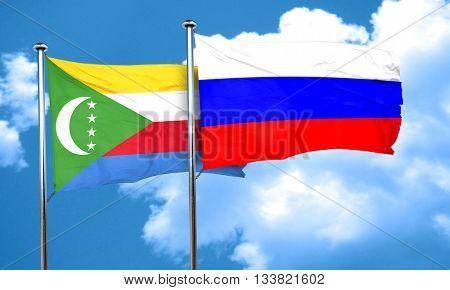 Comoros flag with Russia flag, 3D rendering