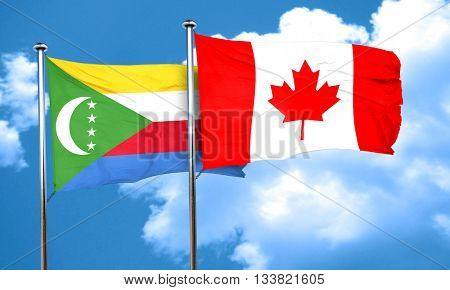 Comoros flag with Canada flag, 3D rendering