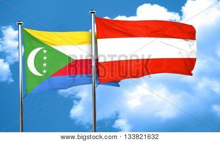 Comoros flag with Austria flag, 3D rendering