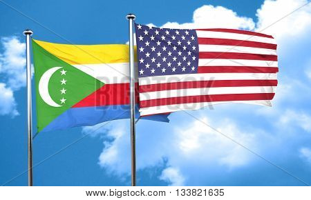 Comoros flag with American flag, 3D rendering