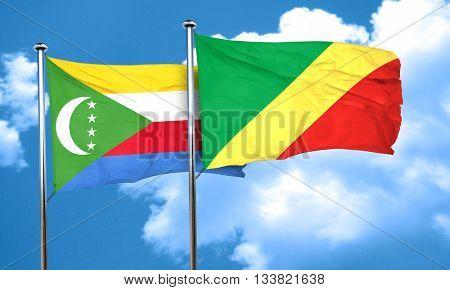 Comoros flag with congo flag, 3D rendering