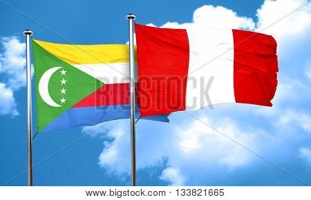 Comoros flag with Peru flag, 3D rendering