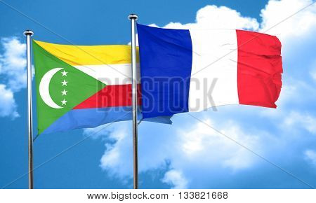 Comoros flag with France flag, 3D rendering