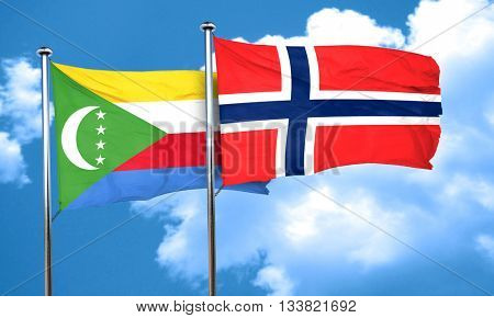 Comoros flag with Norway flag, 3D rendering