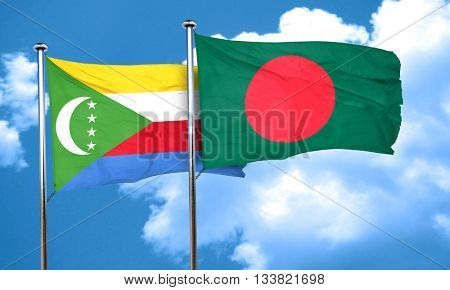 Comoros flag with Bangladesh flag, 3D rendering