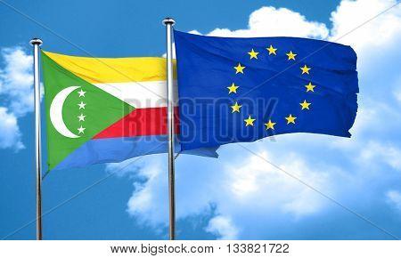 Comoros flag with european union flag, 3D rendering