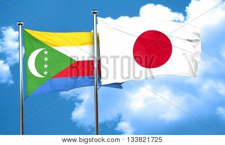 Comoros flag with Japan flag, 3D rendering