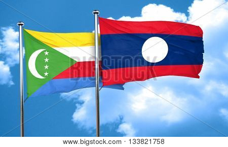 Comoros flag with Laos flag, 3D rendering