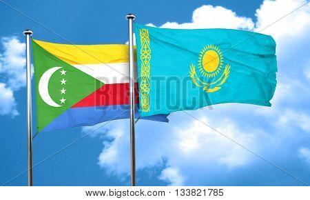 Comoros flag with Kazakhstan flag, 3D rendering