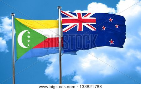 Comoros flag with New Zealand flag, 3D rendering