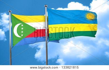 Comoros flag with rwanda flag, 3D rendering
