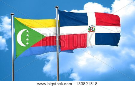 Comoros flag with Dominican Republic flag, 3D rendering