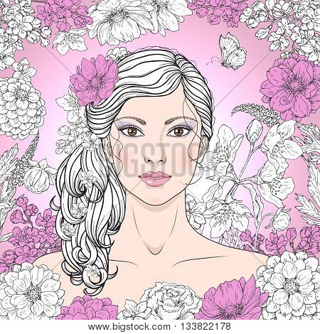 Hand drawn beautiful girl with flowers on pink background. Vintage floral frame. Black pink and white color illustration. Monochrome image of woman with curly hair. Vector sketch.