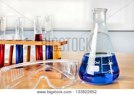 Beaker And Sample Test Tubes On The Table