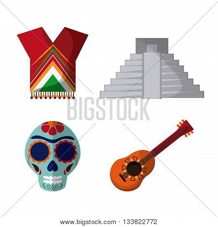 Mexico culture icons in flat design style, set with skull, guitar and pyramid. vector illustration