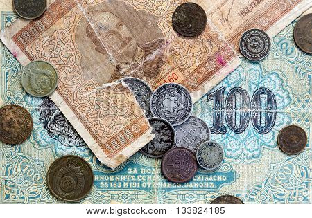 Old Expired Coins And Banknotes. Ussr Coins And Silver Coins