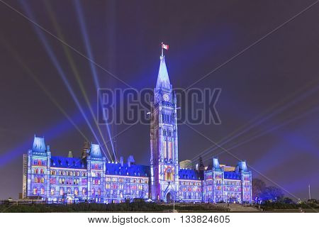 July 22, 2015 - Ottawa, Ontario - Canada - Canada's Parliament Building lit up at night