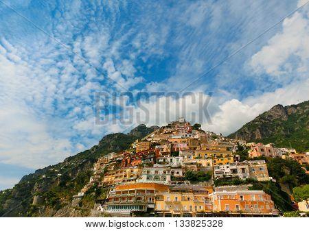 The view on Positano on Amalfi coast, Campania, Italy