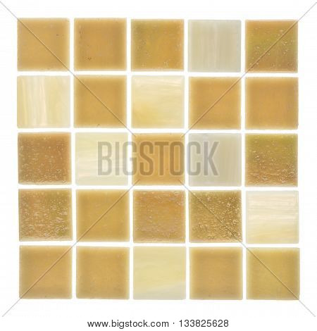 beautiful square glass matt light beige and sand mosaics with blurred stripes scattered on a white background isolated