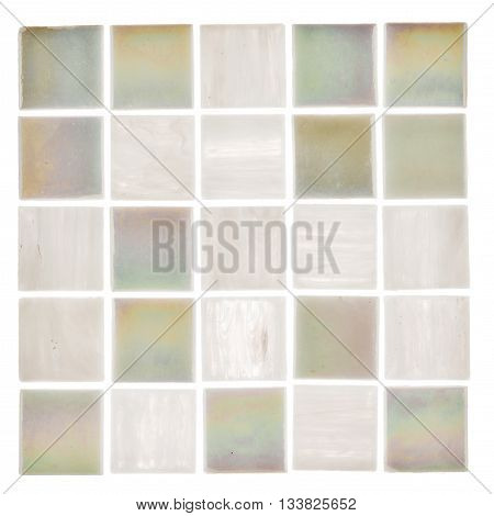 beautiful satin square glass light white and pearl mosaic with light blurred stripes on a white background isolated