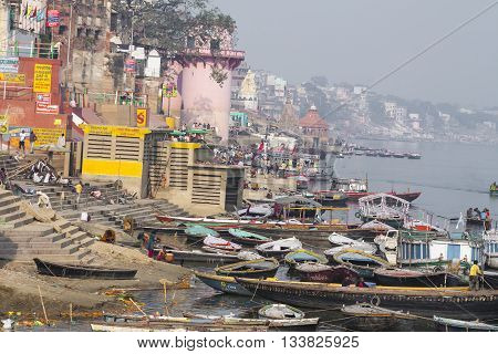 Varanasi, India - January 26, 2012: Ghats On The Banks Of Ganges River In Holy City Of Varanasi