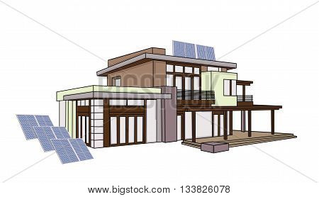 modern house with solar batteries. vector illustration