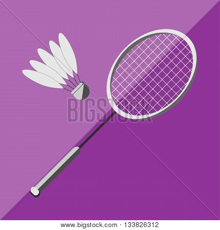 Racket and shuttlecock badminton on a bicolor background. Picture style flat