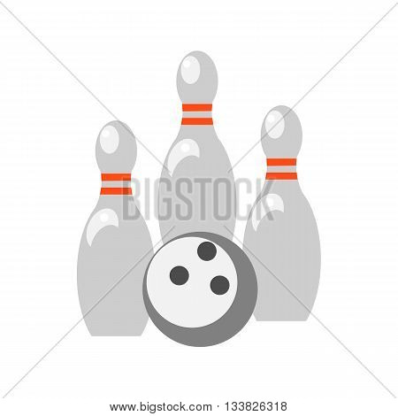 Skittles and bowling ball on white background. Picture style flat