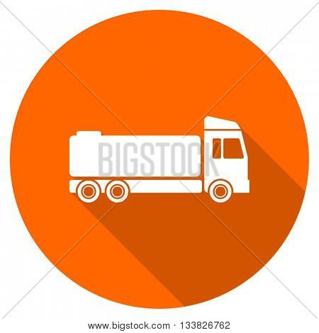 truck vector icon, orange circle flat design internet button, web and mobile app illustration