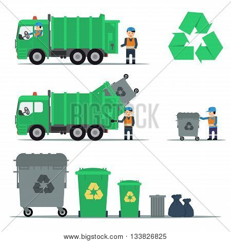 Vector flat set of garbage recycling. Truck workers and containers. Machine ship the trash. Web infographic
