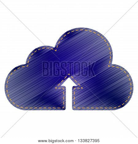 Cloud technology sign. Jeans style icon on white background.