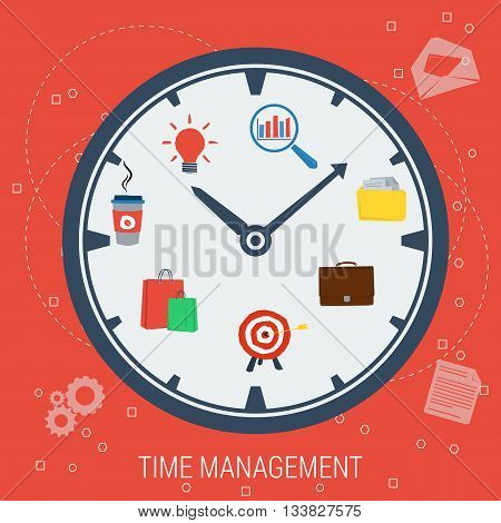 Vector illustration concept time management. Clock with points work coffee shopping reward reach a goal idea in flat style. Web infographics