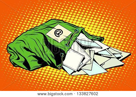 retro bag of the postman with letters pop art vector. Postal service, mail