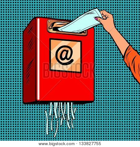 Spam trash junk email pop art retro vector. The destruction of the letters. Schroeder