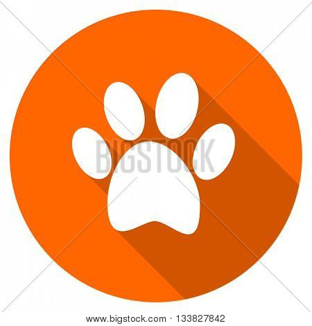foot vector icon, orange circle flat design internet button, web and mobile app illustration