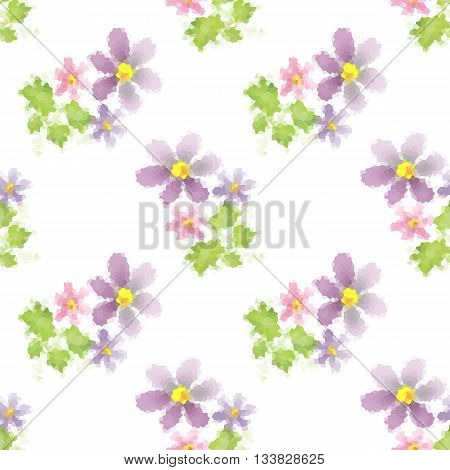 Seamless floral pattern flowers print on white background